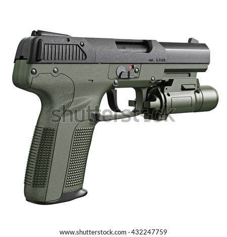 Gun military, police with flashlight. 3D graphic - stock photo