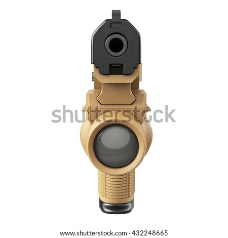 Gun military, police with flashlight, front view. 3D graphic - stock photo