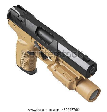 Gun military, police with flashlight, top view. 3D graphic - stock photo