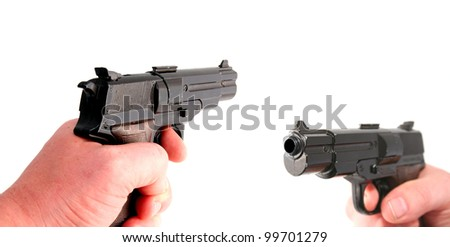 gun or pistol evidence of a crime or security and protection - stock photo