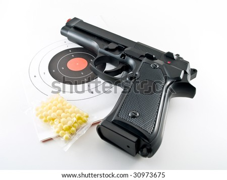 gun pistol practice set - stock photo