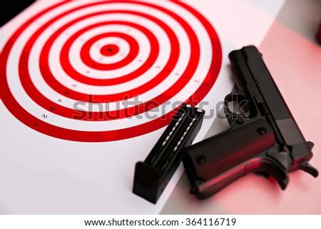gun pistol practice set - stock photo