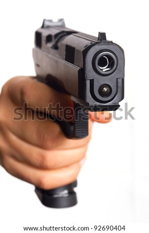 Gun pointed on you - stock photo