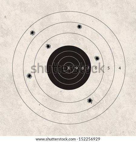 gun shoot to the shooting target of missing concept - stock photo