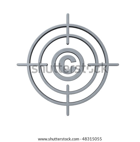 gun sight with copyright symbol on white background - 3d illustration - stock photo