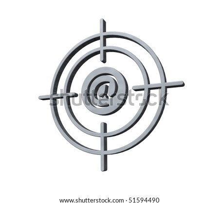gun sight with email alias on white background - 3d illustration - stock photo