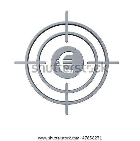 gun sight with euro symbol on white background - 3d illustration - stock photo
