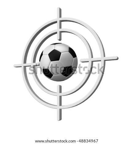 gun sight with soccer ball on white background - 3d illustration - stock photo