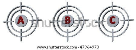 gun sights with the letters abc on white background - 3d illustration - stock photo