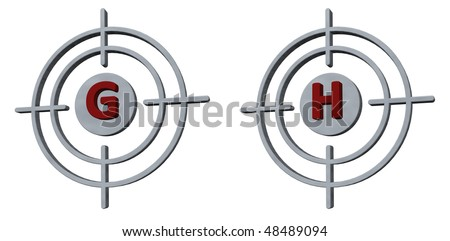 gun sights with the letters gh on white background - 3d illustration - stock photo