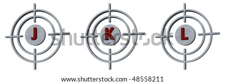 gun sights with the letters jkl on white background - 3d illustration - stock photo