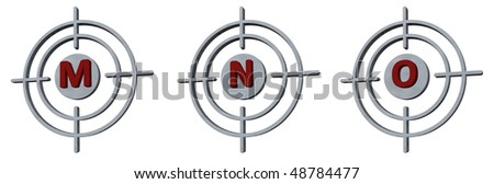 gun sights with the letters mno on white background - 3d illustration - stock photo