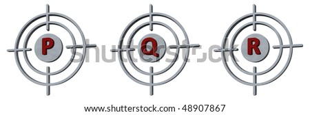 gun sights with the letters pqr on white background - 3d illustration - stock photo