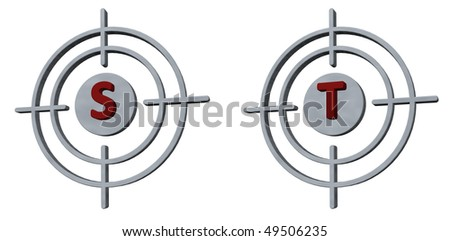 gun sights with the letters s and t on white background - 3d illustration - stock photo