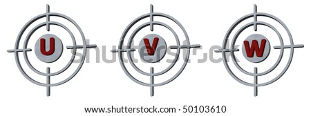 gun sights with the letters u, v and w on white background - 3d illustration - stock photo