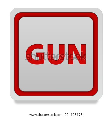 Gun square icon on white background
