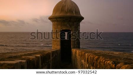 Gun Tower At Dusk Gun Tower in San Juan, Puerto Rico - stock photo