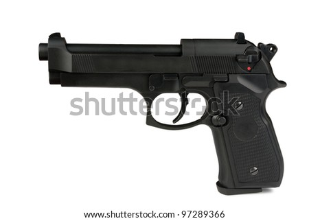 gun turn left isolated on a white background - stock photo