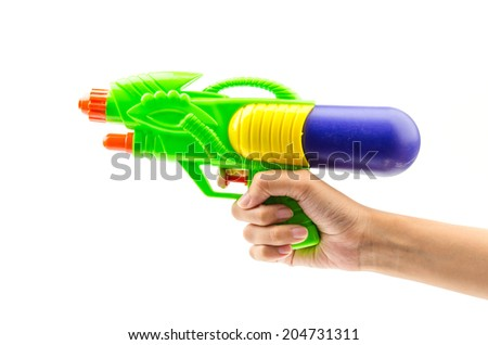 Gun water toy isolated white background - stock photo