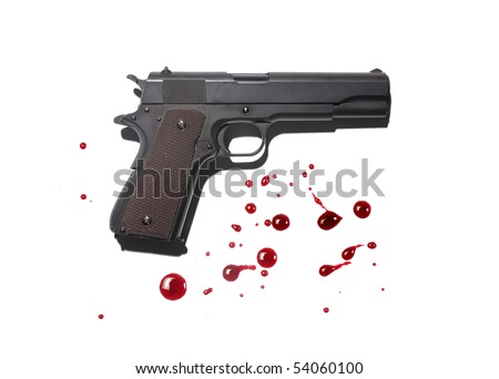Gun with blood stains - stock photo
