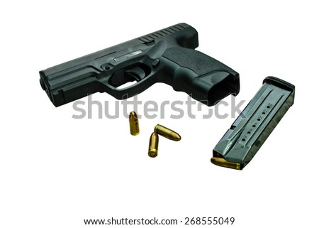 Gun with magazine and ammo on white with clipping path - stock photo