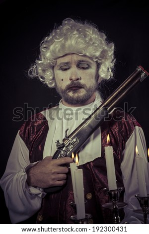 Gunfight, nineteenth century man, , chandelier with candles - stock photo