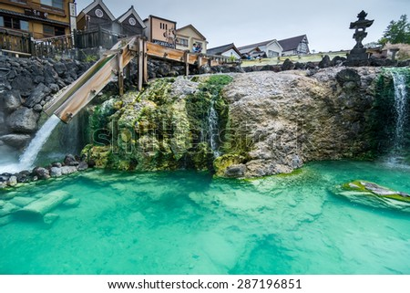 GUNMA,JAPAN - 6 May 2015: Yubatake is a source of hot spring and the symbol of Kusatsu Hot Spring ,Located in the center of the spa resort,