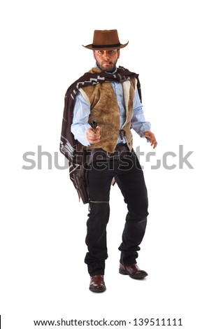 Gunman in the old wild west on white background. - stock photo