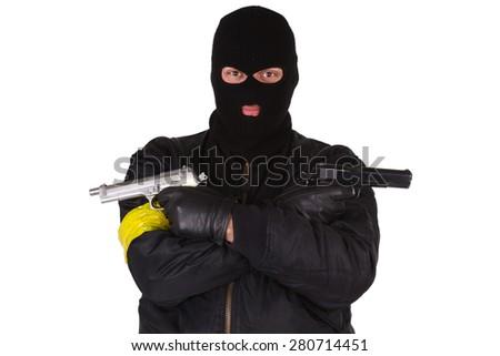 gunman with handgun isolated on white background - stock photo