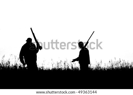 gunmen in field showing only silhouette