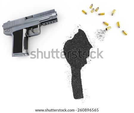 Gunpowder forming the shape of Benin and a handgun.(series) - stock photo