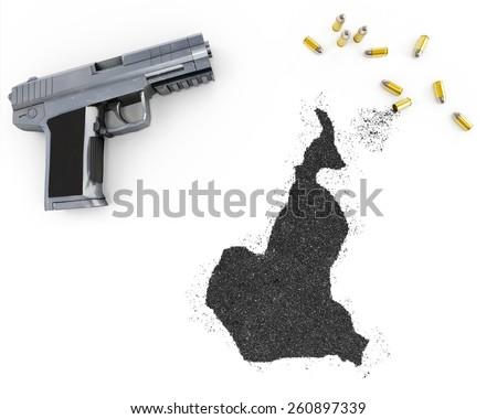 Gunpowder forming the shape of Cameroon and a handgun.(series) - stock photo