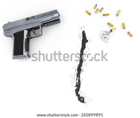 Gunpowder forming the shape of Chile and a handgun.(series) - stock photo
