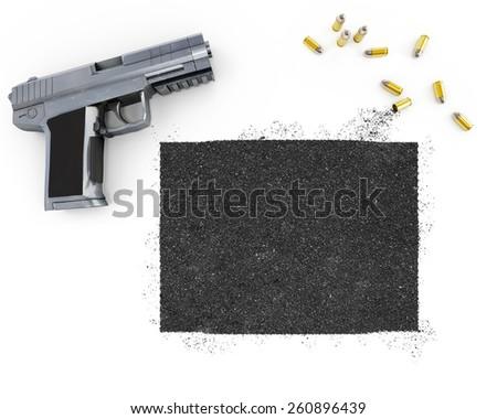 Gunpowder forming the shape of Colorado and a handgun.(series) - stock photo
