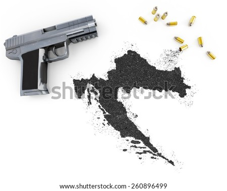 Gunpowder forming the shape of Croatia and a handgun.(series) - stock photo