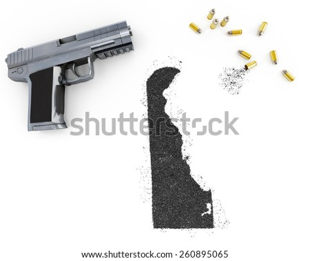 Gunpowder forming the shape of Delaware and a handgun.(series) - stock photo