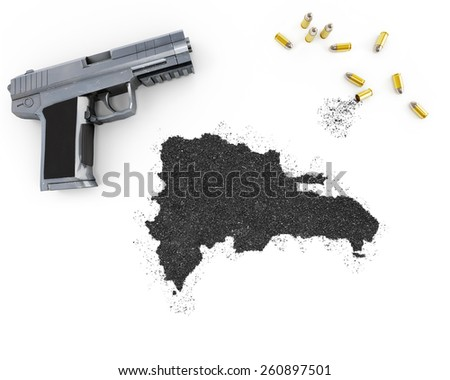 Gunpowder forming the shape of Dominican Republic and a handgun.(series) - stock photo