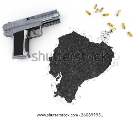 Gunpowder forming the shape of Ecuador and a handgun.(series) - stock photo