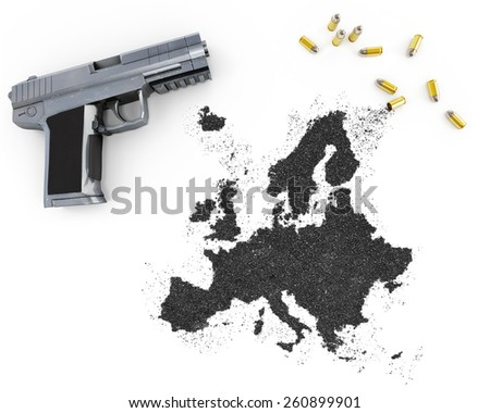 Gunpowder forming the shape of Europe and a handgun.(series) - stock photo