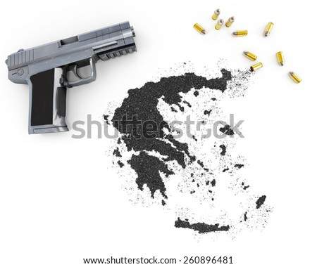 Gunpowder forming the shape of Greece and a handgun.(series) - stock photo