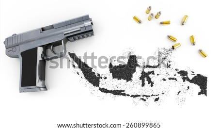 Gunpowder forming the shape of Indonesia and a handgun.(series) - stock photo