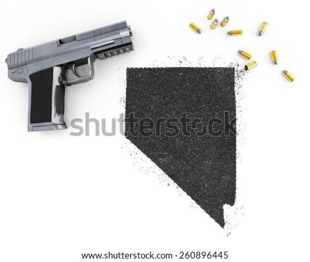 Gunpowder forming the shape of Nevada and a handgun.(series) - stock photo