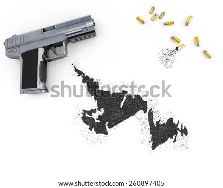 Gunpowder forming the shape of Newfoundland and a handgun.(series) - stock photo