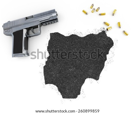 Gunpowder forming the shape of Nigeria and a handgun.(series) - stock photo