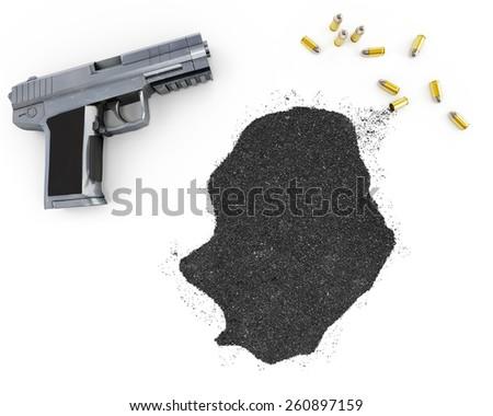 Gunpowder forming the shape of Niue and a handgun.(series) - stock photo