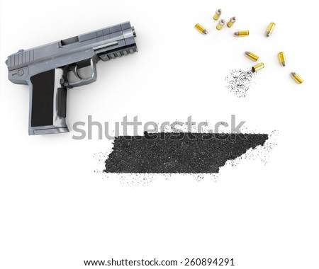 Gunpowder forming the shape of Tennessee and a handgun.(series) - stock photo