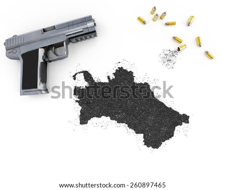 Gunpowder forming the shape of Turkmenistan and a handgun.(series) - stock photo