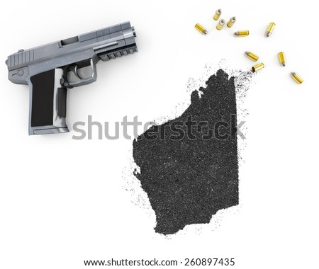Gunpowder forming the shape of Western Australia and a handgun.(series) - stock photo