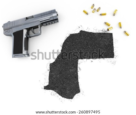 Gunpowder forming the shape of Western Sahara and a handgun.(series) - stock photo