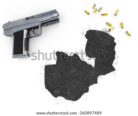 Gunpowder forming the shape of Zambia and a handgun.(series) - stock photo